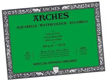 ARCHES BLOC ACUARELA ENCOLADO GRANO FINO 300G  20 HOJAS 36 X 51 CM