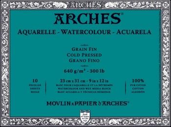 ARCHES BLOC ACUARELA GRANO FINO 640GR 10 HOJAS (ENCOLADO 4 LADOS)