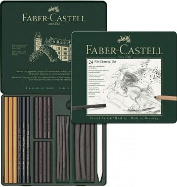 FABER-CASTELL ESTUCHE METÁLICO 24 PIEZAS DE CARBÓN