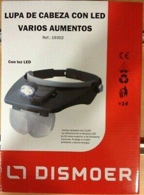 DISMOER LUPA DE CABEZA CON LAMPARA DE 2 LED Y 4 AUMENTOS DIFERENTES