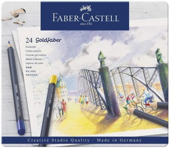 FABER-CASTELL ESTUCHE METAL 24 LAPICES GOLDFABER