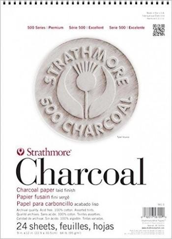 STRATHMORE BLOC PAPEL CARBONCILLO CHARCOAL 24 HOJAS TINTAS VARIADAS