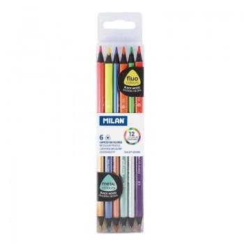 Milan caja de 6 lápices bicolores fluo&metal triangulares