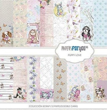 PAPERS FOR YOU COLECCIÓN 12 PAPELES SCRAPBOOKING  PUPPY LOVE