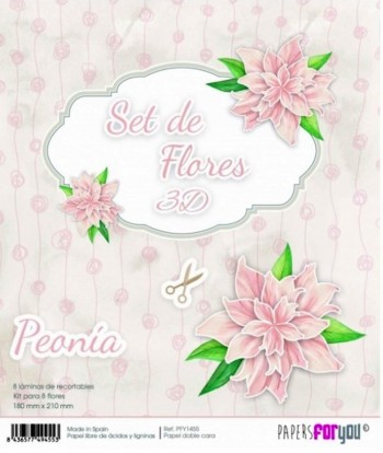 PAPERS FOR YOU 15 LÁMINAS DE RECORTABLES 18 x 21 CM SET DE FLORES 3D PEONÍA