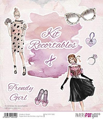 PAPERS FOR YOU 15 LÁMINAS DE RECORTABLES 18 x 21 CM TRENDY GIRL