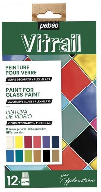 PEBEO SET INICIACIÓN VITRAIL PINTURA DE VIDRIO 12X20 ML